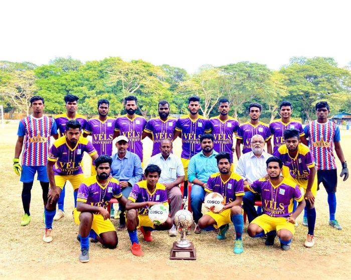 Vels University Football Team has won 21<sup>st</sup> Rev Murphy Memorial Football Tournament, organised by Loyola college, Chennai, on 21 Feb 2020